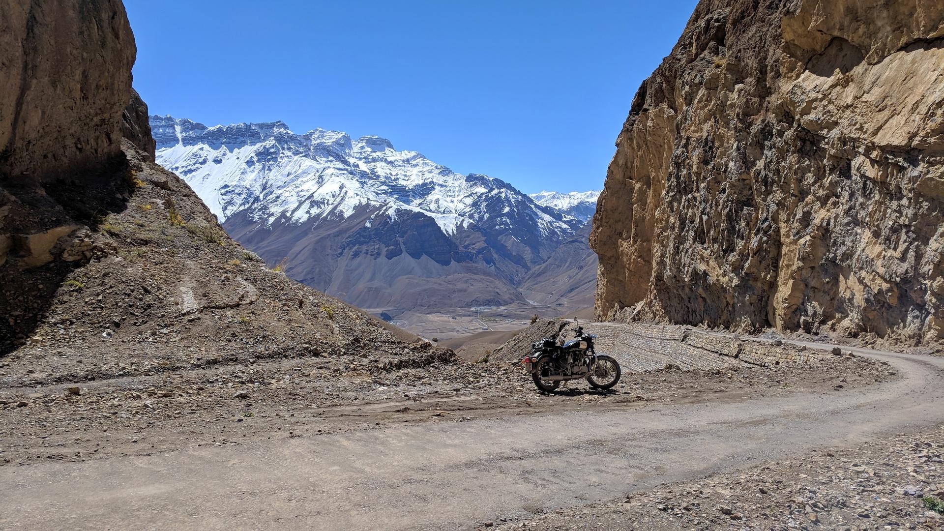 Motorcycle taking a break in Spiti Valley